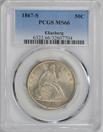 Image of 1867-S LIBERTY SEATED 50C, MOTTO