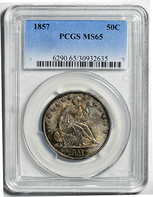 Image of 1857 LIBERTY SEATED 50C, NO MOTTO