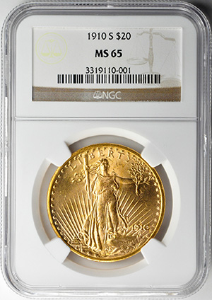 Image of 1910-S ST. GAUDENS $20, MOTTO