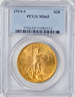 Image of 1914-S ST. GAUDENS $20, MOTTO
