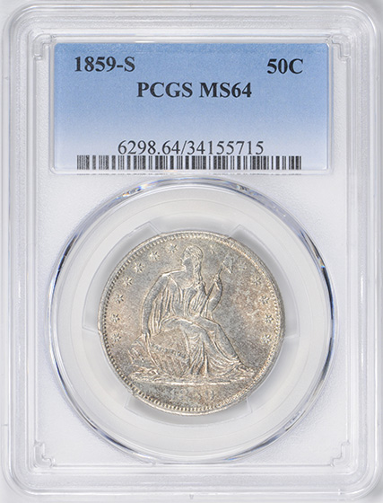 Image of 1859-S LIBERTY SEATED 50C, NO MOTTO