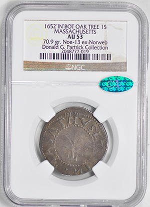 Image of 1652 OAK TREE SHILLING, IN AT BOTTOM