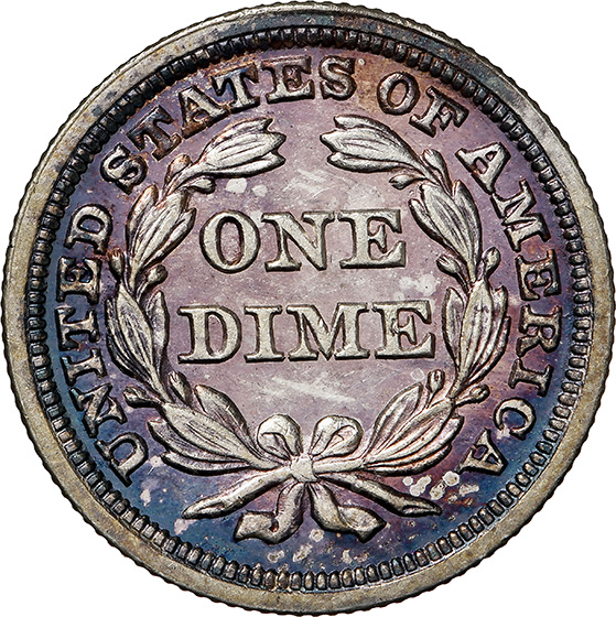 Picture of 1850 LIBERTY SEATED 10C, DRAPERY PR64