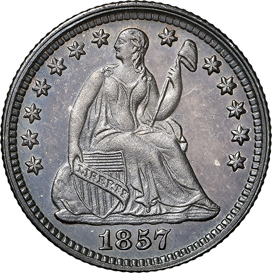 Picture of 1857 LIBERTY SEATED H10C PR66
