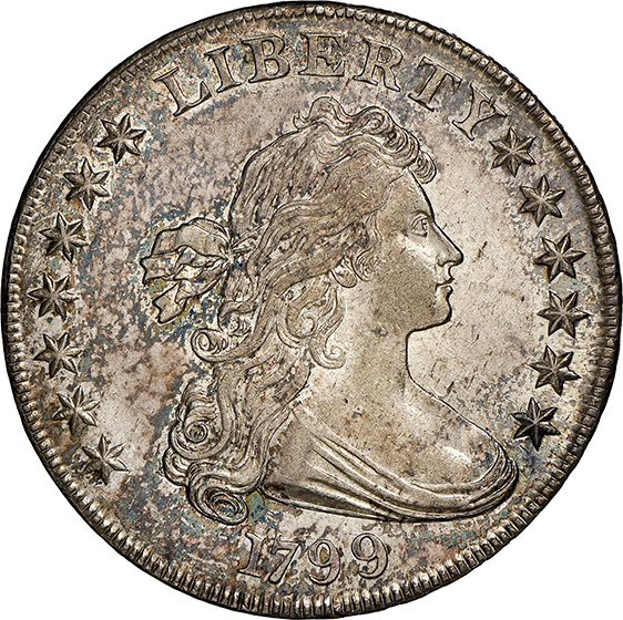 Picture of 1799 BUST $1, LARGE EAGLE MS62