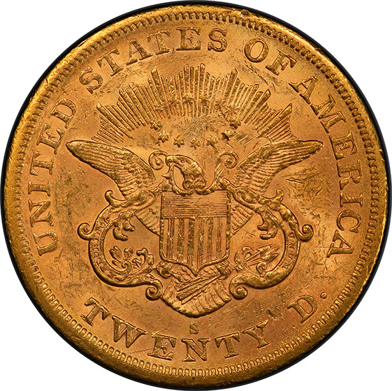 Picture of 1866-S LIBERTY HEAD $20, NO MOTTO MS61