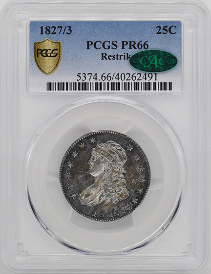 Picture of 1827/3 CAPPED BUST 25C, RESTRIKE PR66