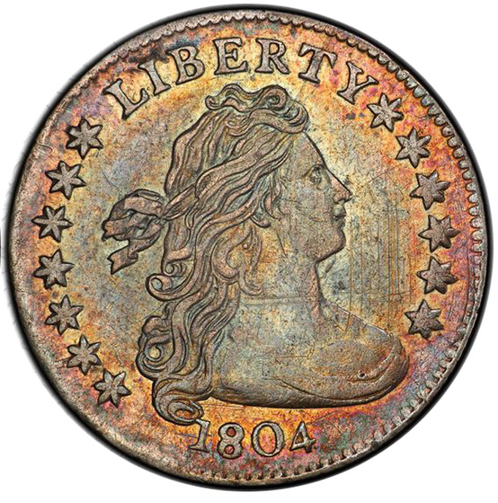 Picture of 1804 DRAPED BUST 10C, 13 STARS REVERSE AU55