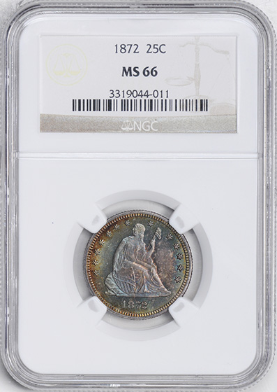 Picture of 1872 LIBERTY SEATED 25C, MOTTO MS66