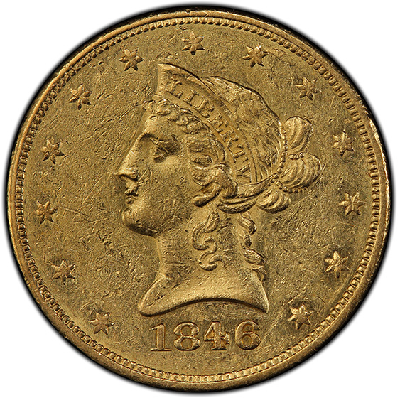 Picture of 1846 LIBERTY $10, NO MOTTO AU55