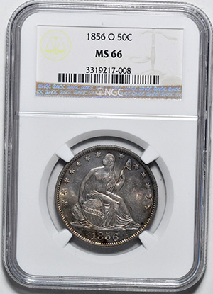 Picture of 1856-O LIBERTY SEATED 50C, NO MOTTO MS66