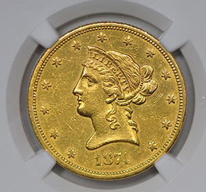 Picture of 1874-S LIBERTY HEAD $10 AU55