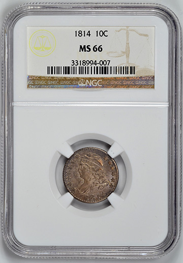 Picture of 1814 CAPPED BUST 10C, LARGE DATE, LARGE DENTICLES MS66