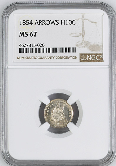 Picture of 1854 LIBERTY SEATED H10C, ARROWS MS67