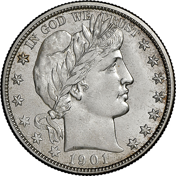 Picture of 1901-O BARBER 50C MS66