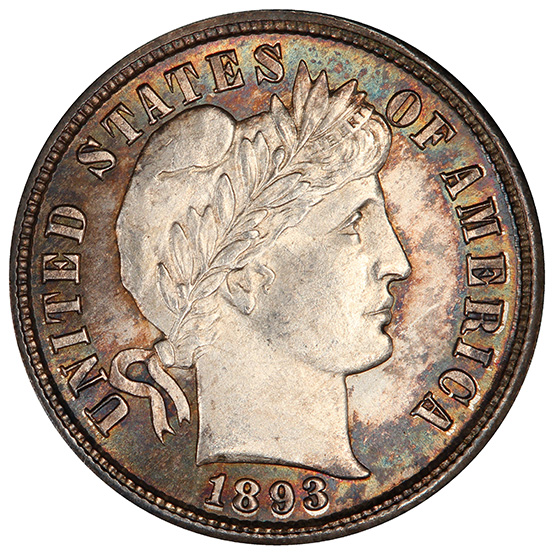 Picture of 1893-S BARBER 10C MS66