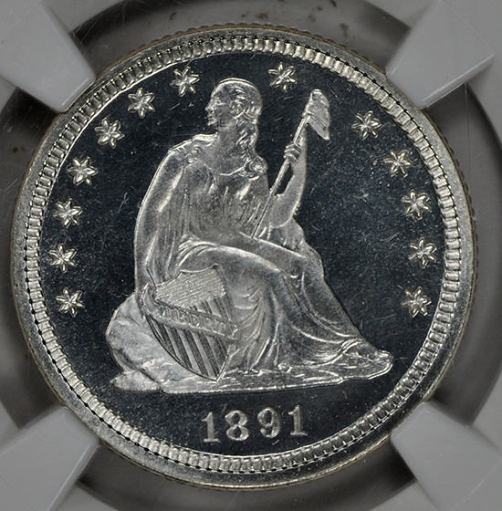 Picture of 1891 LIBERTY SEATED 25C, MOTTO PR67 Cameo