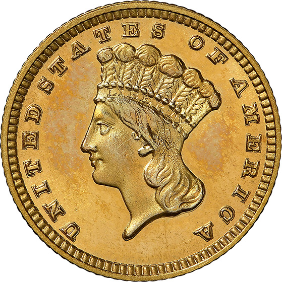 Picture of 1884 GOLD G$1, TYPE 3 PR68 Cameo