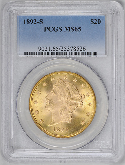 Picture of 1892-S LIBERTY HEAD $20 MS65