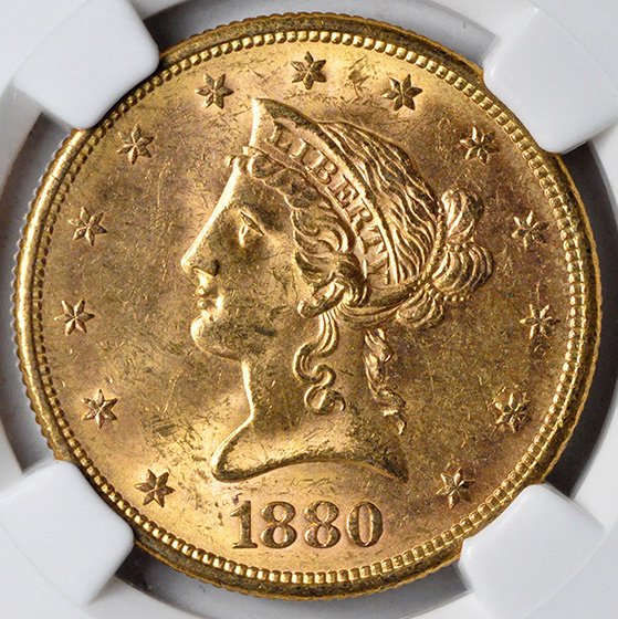Picture of 1880-S LIBERTY $10, MOTTO MS64