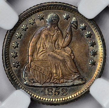 Picture of 1852-O LIBERTY SEATED H10C, DRAPERY MS66