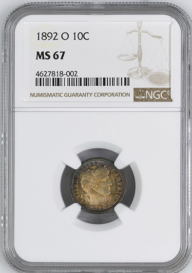 Picture of 1892-O BARBER 10C MS67