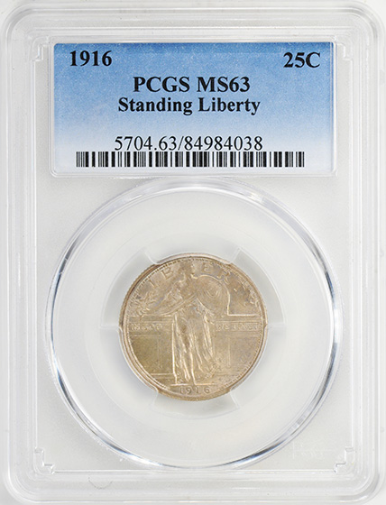 Picture of 1916 STANDING LIBERTY 25C, STANDING LIBERTY MS63