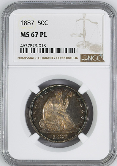 Picture of 1887 LIBERTY SEATED 50C MS67 Proof Like