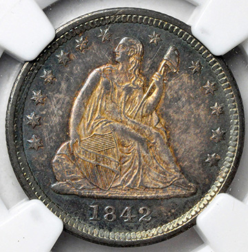 Picture of 1842 LIBERTY SEATED 25C, NO MOTTO MS65