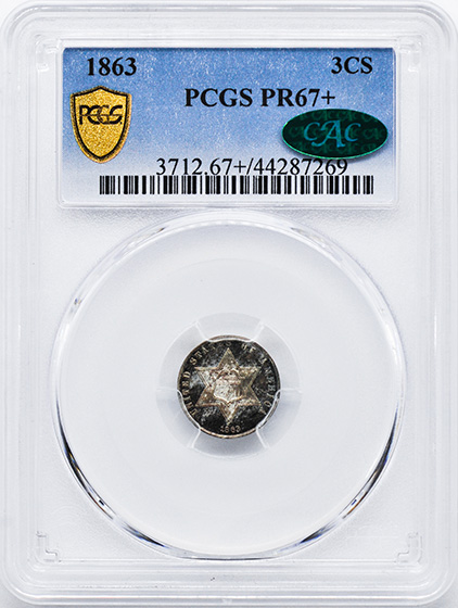 Picture of 1863 SILVER 3CS, TYPE 3 PR68