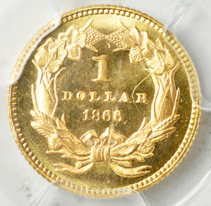 Picture of 1866 GOLD G$1, TYPE 3 MS67