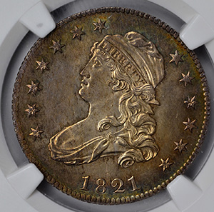 Picture of 1821 CAPPED BUST 25C, LARGE SIZE MS66
