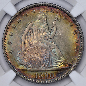 Picture of 1890 LIBERTY SEATED 50C, MOTTO MS68