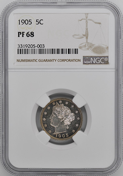 Picture of 1905 LIBERTY HEAD 5C PR68