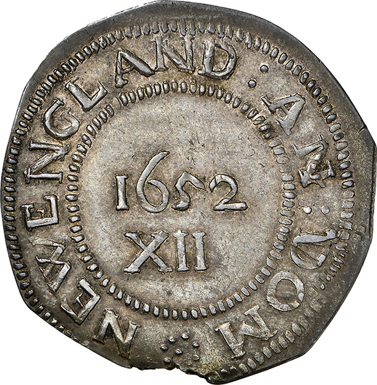 Picture of 1652 PINE TREE SHILLING, PINE TR, LG PL, PELLETS MS65