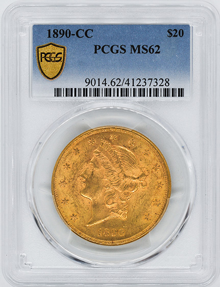 Picture of 1890-CC LIBERTY HEAD $20 MS62