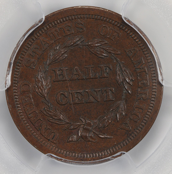 Picture of 1852 BRAIDED HAIR 1/2 C, RESTRIKE PR65 Brown