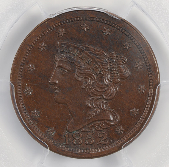 Picture of 1852 BRAIDED HAIR 1/2 C, RESTRIKE PR65 Brown