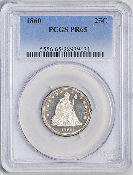 Picture of 1860 LIBERTY SEATED 25C, NO MOTTO PR65