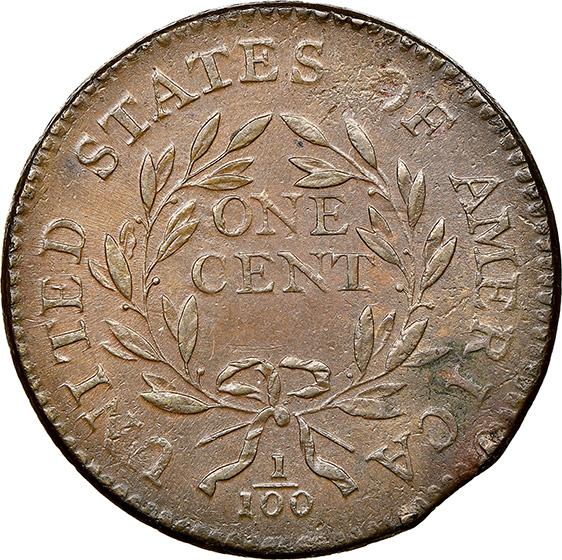 Picture of 1795 LIBERTY CAP 1C, PLAIN EDGE, DENT. BORDER AU58 Brown