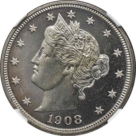 Picture of 1908 LIBERTY HEAD 5C PR67 Cameo
