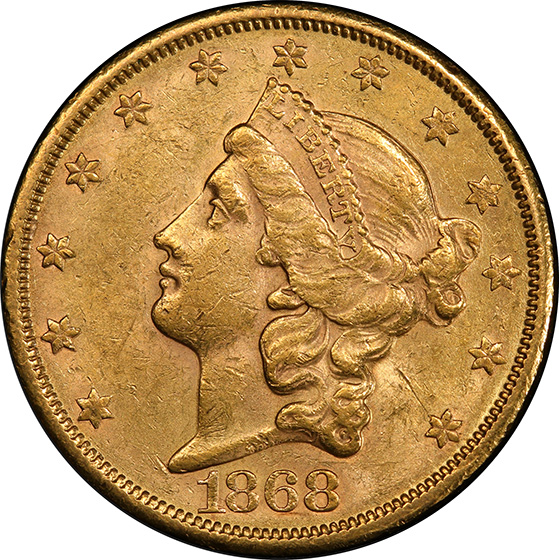 Picture of 1868-S LIBERTY HEAD $20 MS61