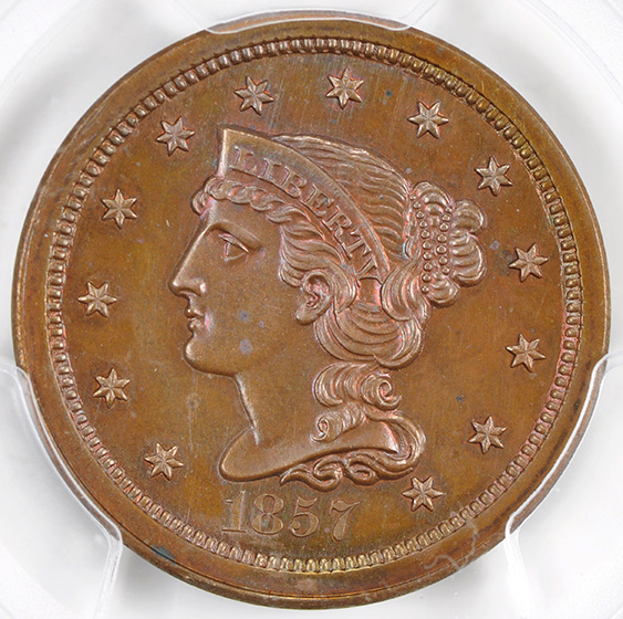 Picture of 1857 BRAIDED HAIR 1C, SMALL DATE PR65 Red Brown