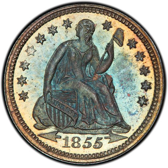 Picture of 1855 LIBERTY SEATED H10C, ARROWS PR66