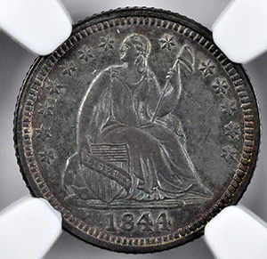 Picture of 1844-O LIBERTY SEATED H10C, DRAPERY MS64