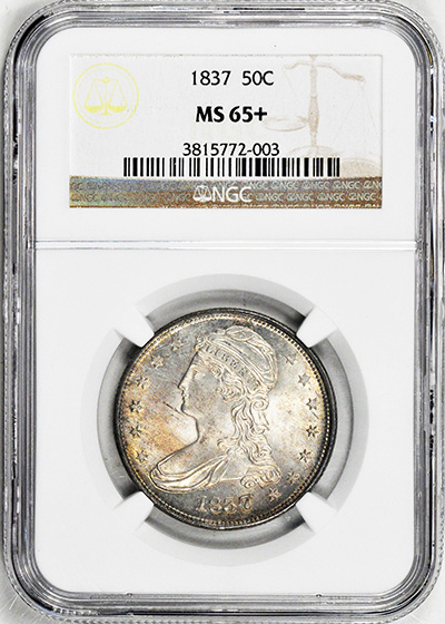 Picture of 1837 CAPPED BUST 50C, REEDED EDGE MS65+