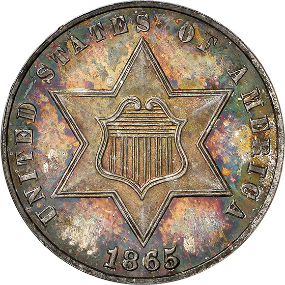Picture of 1865 SILVER 3CS PR67 Cameo