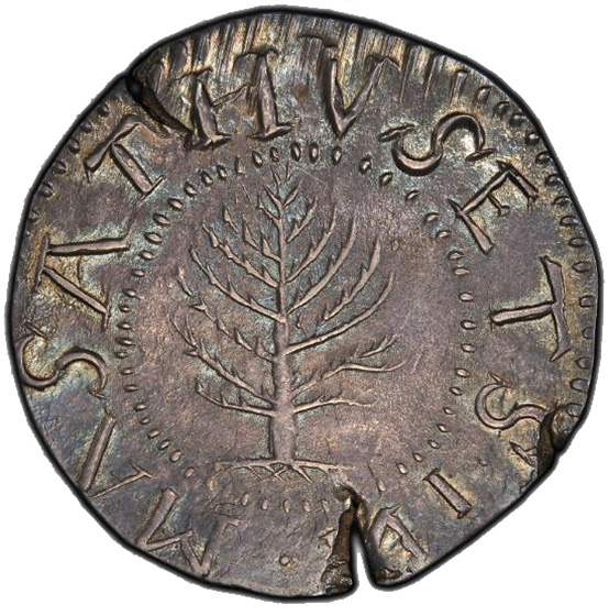 Picture of 1652 PINE TREE SHILLING, PINE TR, LG PL, REV N MS64
