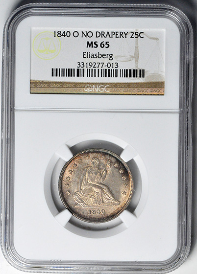 Picture of 1840-O LIBERTY SEATED 25C, NO DRAPERY MS65