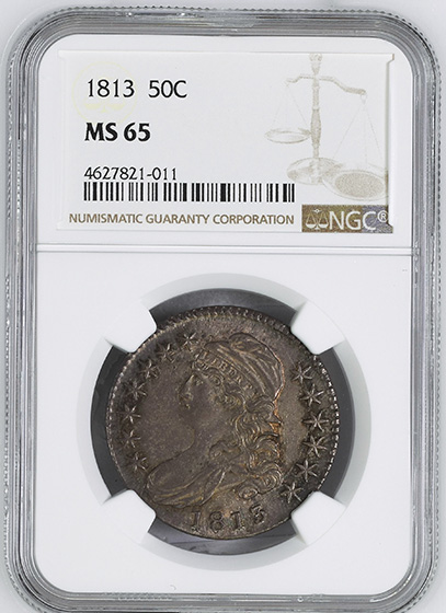 Picture of 1813 CAPPED BUST 50C, LETTERED EDGE MS65